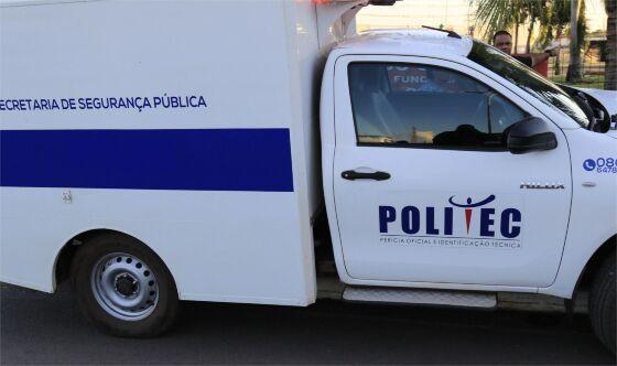 Politec esteve no local e fez os trabalhos de investigação na cena do crime.