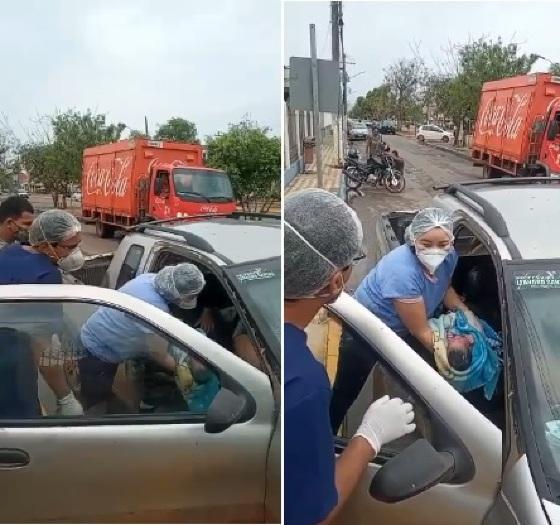 Funcionários do hospital deram assistência e a jovem ganhou o filho dentro do carro, em Cáceres.